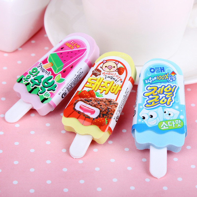 DL 1 шт. SY14 мультфильм ластик мороженое креативная Милая резинка ученик приз корейский Канцтовары для обучения Детские школьные принадлежно...