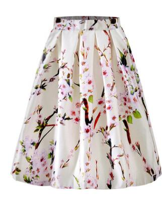 1pcs/lot free shipping Summer Women Skirt Vintage Floral Print High Waist Ball Gown Pleated long skirt
