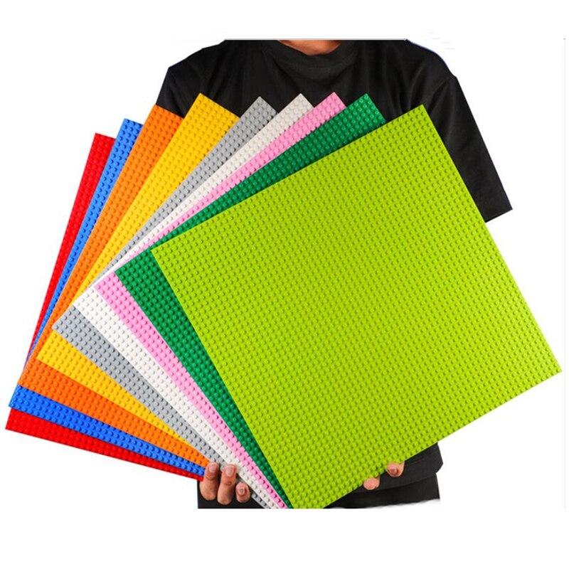 2 teile/los 40*40 cm DIY Grundplatte 50*50 Punkte DIY Kleine Ziegel Bausteine Basis Platte Grün grau Blau Kompatibel mit Legoed