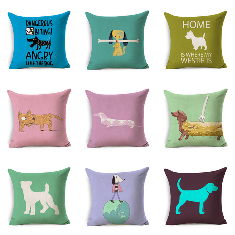 Colorful mordern nordic style Dachshund bulldog print Cushion Cover 45x45cm Sausage Dog Pillow Cases Kids Bedroom Decoration