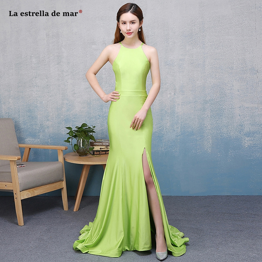 Vestido madrinha 2018 new satin Halter neck backless high split lime green sexy mermaid   bridesmaid     dress   long plus size