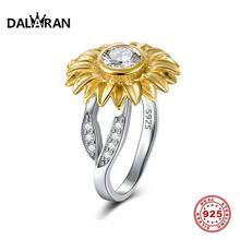 DALARAN Genuine 925 Sterling Silver Rings Gold Sunflower Sparkling Zircon Finger Ring For Women Wedding Anniversary Jewelry