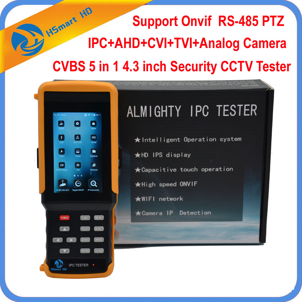 4.3 HD AHD CVI TVI Analog CVBS RS485 CCTV Tester Monitor 1080P WiFi IP Camera Tester Support POE ONVIF Hikvision Dahua Camera