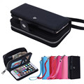 Dividir dois-em-um padrão de lichia zipper phone case para iphone 7 case carteira de couro flip case para iphone 7 couro case