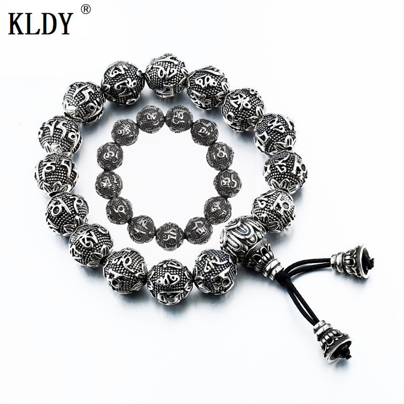 KLDY Retro Tibetan Buddhism Beads Bracelet Men silver Stainless Steel rope Bracelet Lucky Jewelry for men Buddhism Mantra ball opk biker stainless steel men bracelet