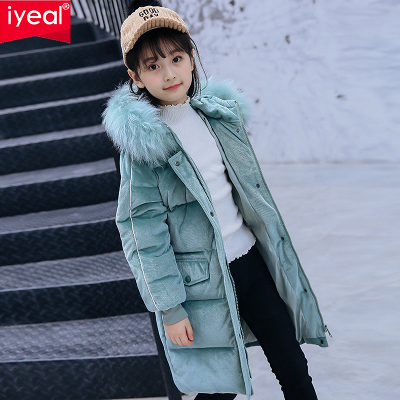IYEAL Winter Duck Down Jacket Children Girls Long Coat Warm Parkas Thick Kids Warm Clothes Rabbit Fur Collar High Quality