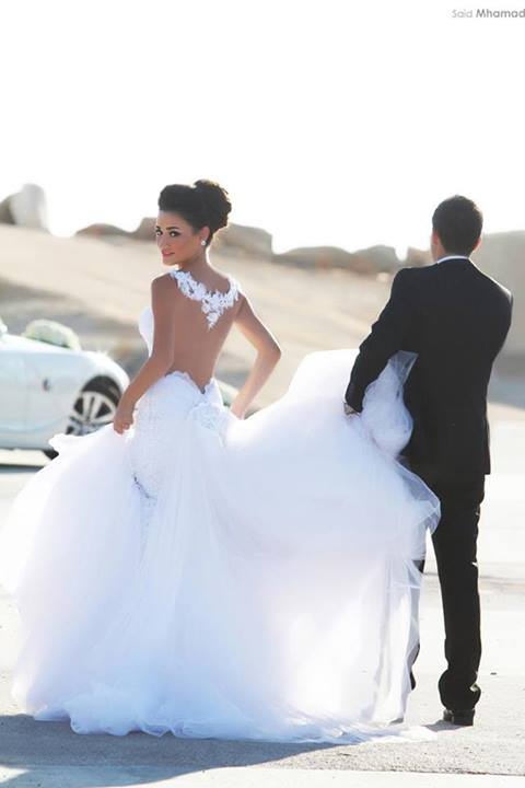 custom made removable train illusion back white lace and see through mermaid wedding dresses