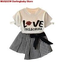db010b7b88002 Enfants Vêtements Filles Vêtements Enfants Vêtements Bébé Fille Vêtements  D été Top T-shirt Tops Plaid Jupe Ensemble Mode Tendan.