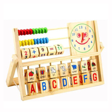 Montessori Material Abacus Math Toys Smiling Face Clock Calculation Children Educational Study Wooden Early Education Center