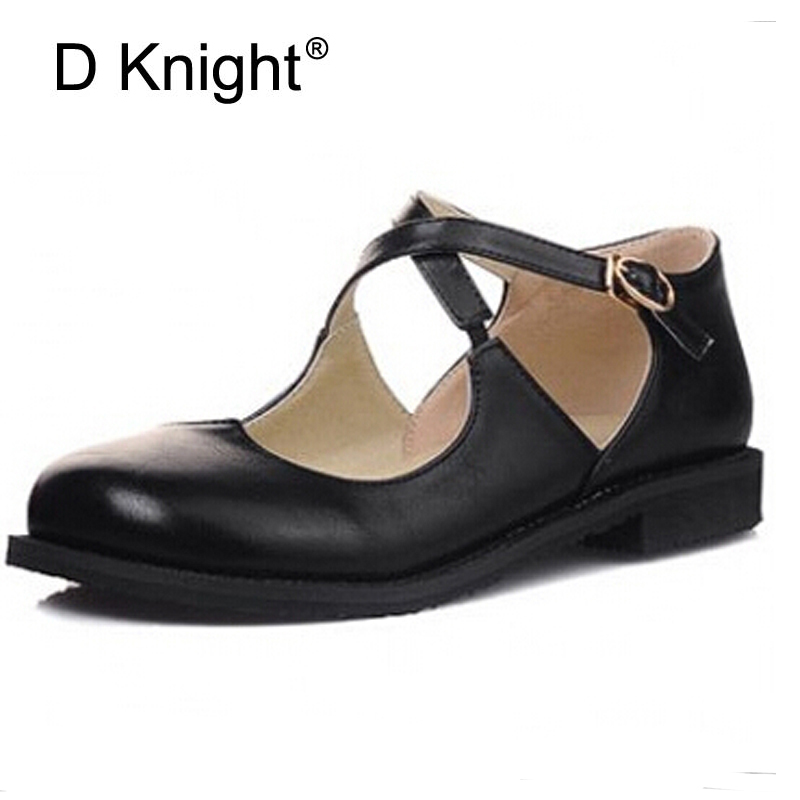 Round Toe Hollow Out Flats,Cross Band Shallow Buckle Strap Women Casual Vintage Shoes England Style Oxfords Big Small Size 31-43