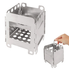 Buy Outdoor firewood stove card type connected stainless steel heating barbecue cooker fire camp solid fuel camping wood burning directly from merchant!