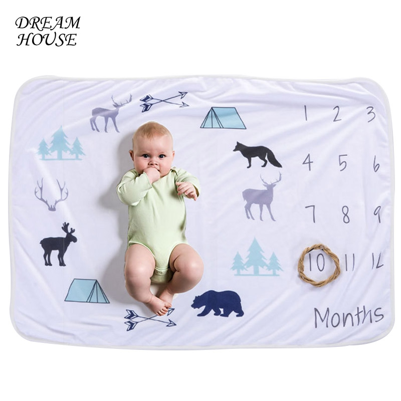 Monthly Growth Number Newborn Photo Background Newborn Blanket Baby Swaddle Bedding Wrap Stroller Cover Play Mat Baby Swaddling