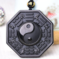David Kabel Chinesischen Schwarzen Obsidian Yin Yang Halskette Anhänger Einstellbare Kugelkette Dropshipping