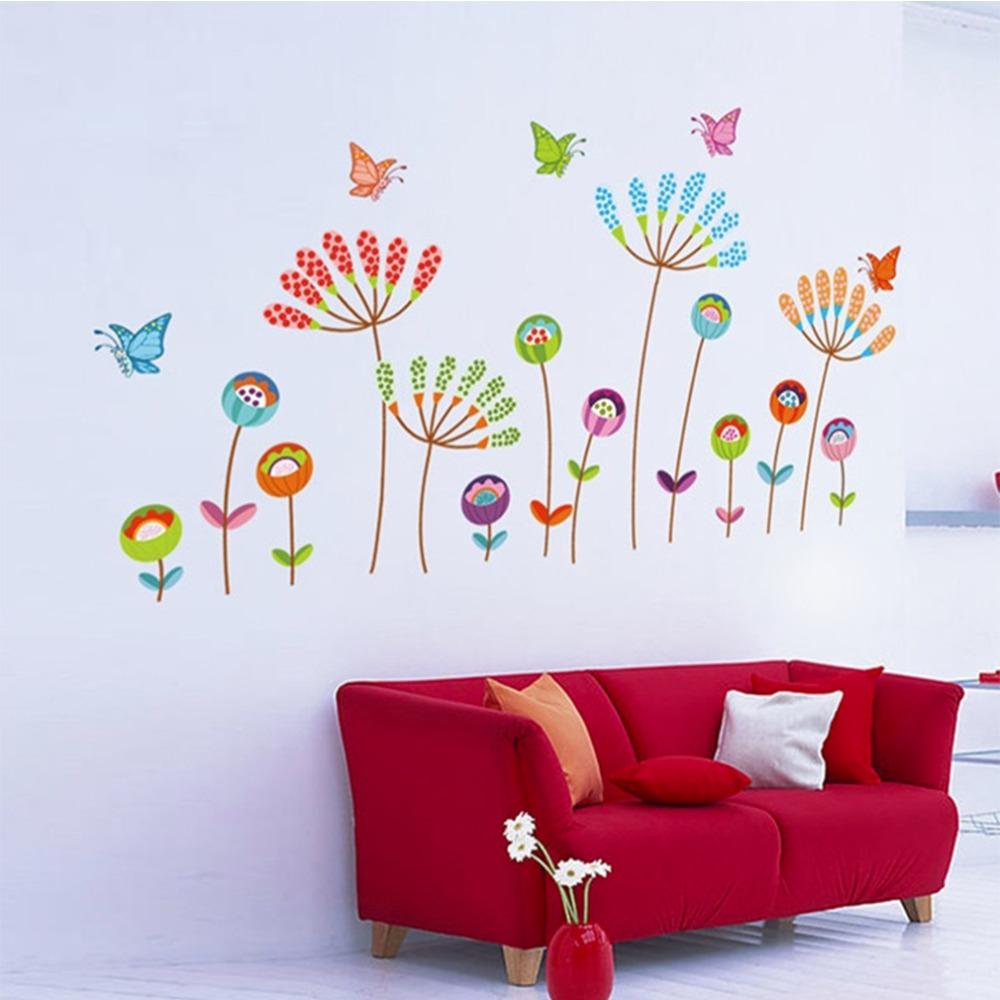 de dibujos animados flor de mariposa etiqueta de la pared del sitio del beb nios nursery