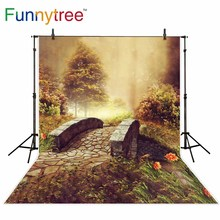 Funnytree background for photo studio Stone bridge autumn flower forest kids photography backdrop photobooth photocall printed funnytree photography background tropical jungle animals birthday dessert table decor backdrop photocall photo studio printed