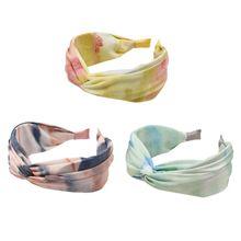 Korean Fresh Style Pleated Wide Headband Women Girl Sweet Tie-Dye Gradient Colored Hair Hoop Cross Twist Knotted Summer Headwear