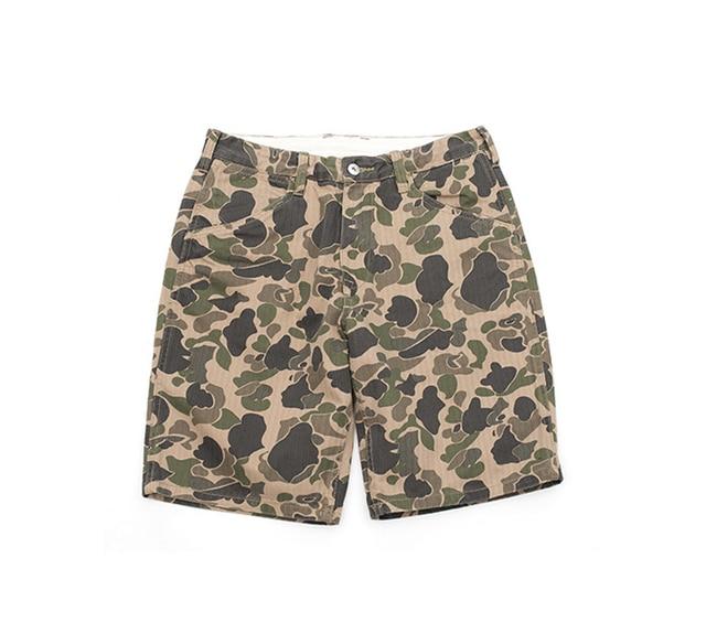 779a40fc4c 2018 Vintage Camo Shorts Safari Style Summer Cargo Short Pants Men Military  Pants Camouflage Herringbone Army Shorts