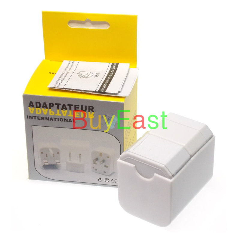 Free shipping World Global All In One Travle Adapter US/EU/GB/AU/China/Japan Universal Power Plug Half cover  White color