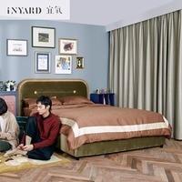[InYard] бархатная кровать/Мягкая покрытая деревянная кровать/импортная ткань арт двуспальная кровать дизайнер Северная Европа Роскошная кро