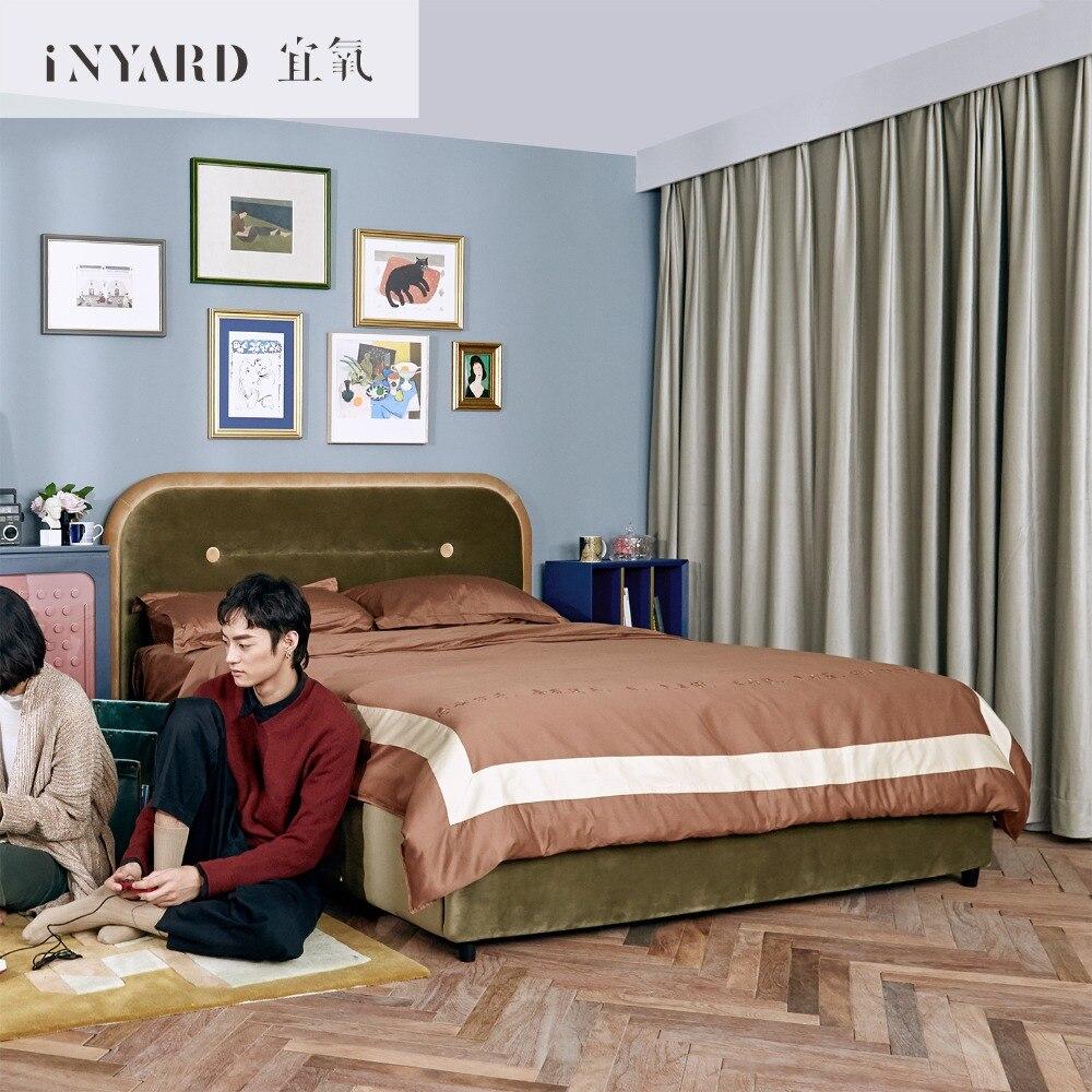 [InYard] velours lit/doux couverts en bois lit/importé tissu art double lit designer Europe du nord luxueux lit 1.8 mètres