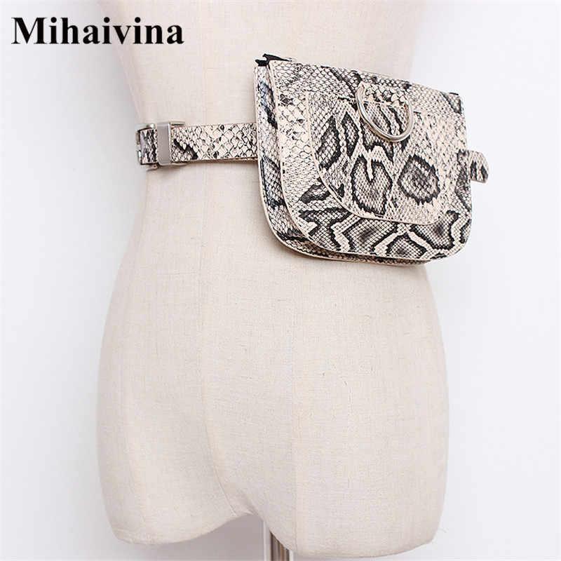 Mihaivina 蛇行女性ウエストパックベルトバッグ女性ファッションウエストバッグ D ファニーパック女性の胸バッグハンドバッグジッパーコイン財布