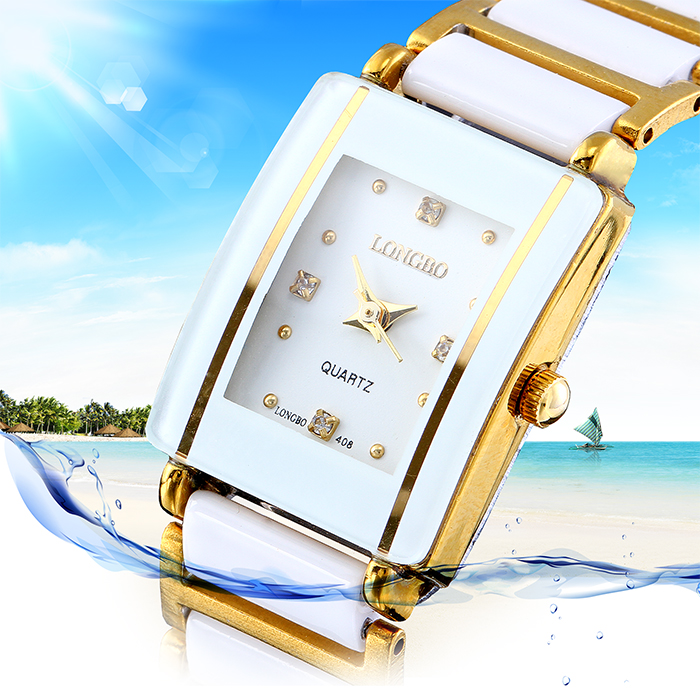 LONGBO Rectangle ceramic watch ladies white watch fre