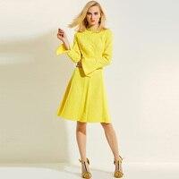 A line vestido Primavera Verano stand collar long Flare manga amarillo rodilla longitud a-line mujeres vintage Vestidos o cuello elegante partido