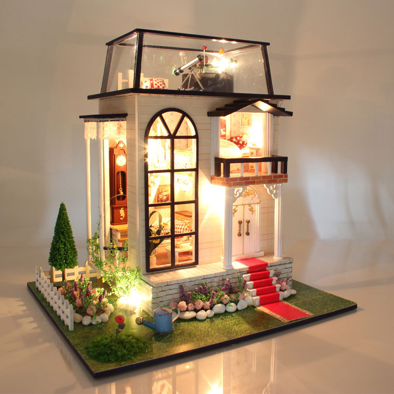 Doll House Diy miniature 3D Moden Wooden Dollhouse Miniature Wooden Building Model Furniture Model Toys Gifts 13837 d030 diy mini villa model large wooden doll house miniature furniture 3d wooden puzzle building model