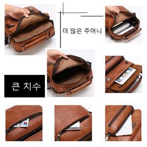 Image 5 - جيب BULUO العلامة التجارية رجل جلدية Crossbody الكتف حقيبة ساعي ل 9.7 بوصة باد الأعمال عادية كبيرة الحجم الرجال حقائب الشهيرة