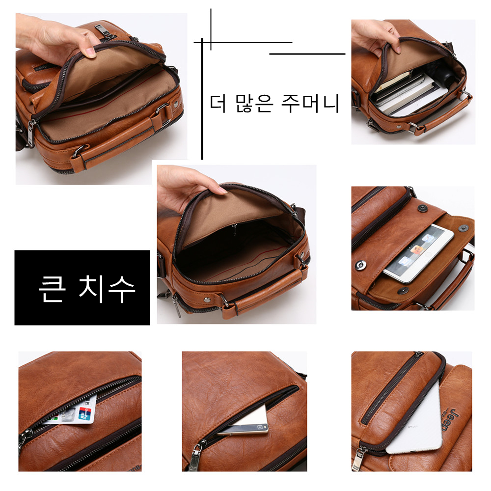 Image 5 - JEEP BULUO Brand Man Leather Crossbody Shoulder Messenger Bag For  9.7 inch iPad Casual Business Big Size Mens Handbags Famous  -
