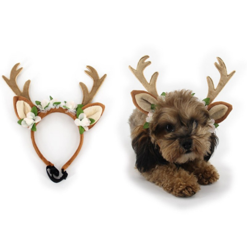 Christmas Reindeer Antlers Puppy grace Hat Pet dog cat Headdress with flowers Pet kitty Hair Band hat Pet accessories