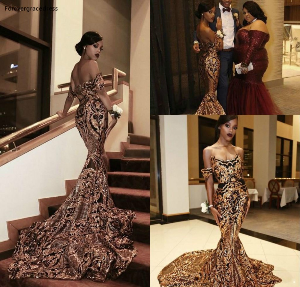 Luxury South African Black Girls Prom Dresses Mermaid Off Shoulder Holidays Graduation Wear Party Gowns Plus Size Custom Made