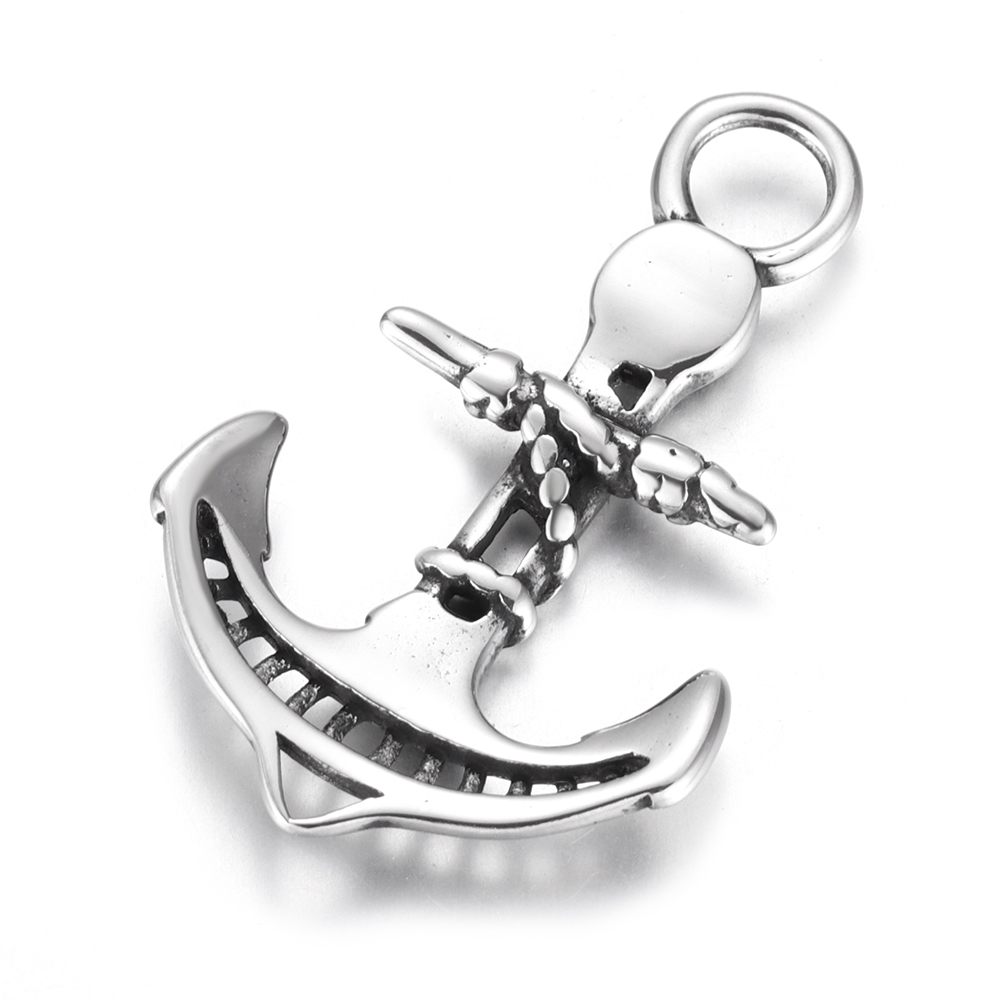 Stainless Steel Anchor Charms Curved Hole 5mm DIY Accessories Necklace Pendant Bracelet Hooks Findings Jewelry Making Supplies in Charms from Jewelry Accessories