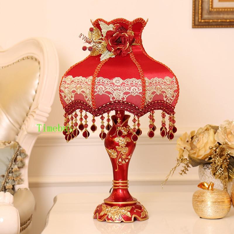 Спальня декоративные настольные лампы красный абажур для настольная лампа личность свадьбы зал Современные СВЕТОДИОДНЫЙ Свет ночники све...