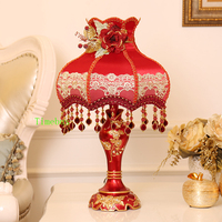 Bedroom Decorative Table Lamps Red Lampshade for Table Lamp Personality Wedding Room Modern led Light Bedside Lamp LED Light