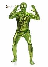 2017 Shiny Lycra Spandex Shiny Grass Green Mens Unitard Catsuits Metallic Footed Zipper Zentai Bodysuit