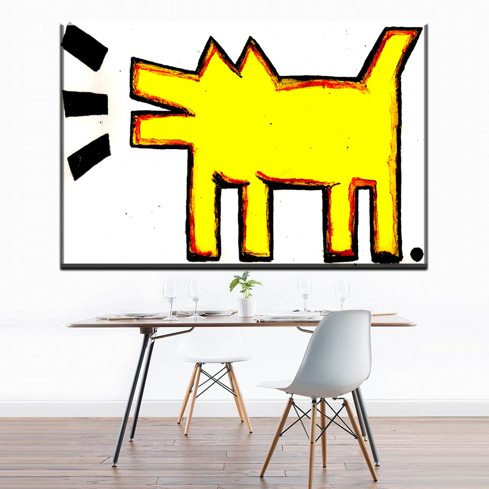 ZZ1415 modern abstract canvas art yellow abstract dog keith haring ...