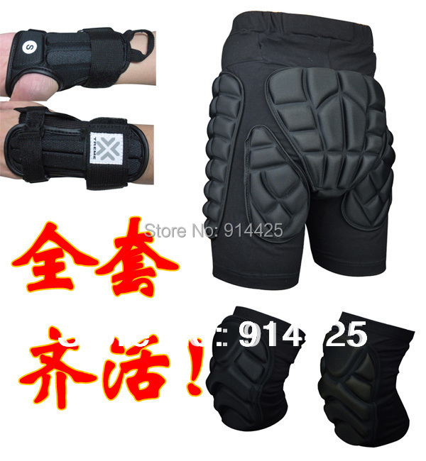 ФОТО Jiepolly Brand Skiing Protection Sets Hip Pads Knee Pads Wrist Support Palm Protection 5 Pcs Snowboard Protection Sets Together