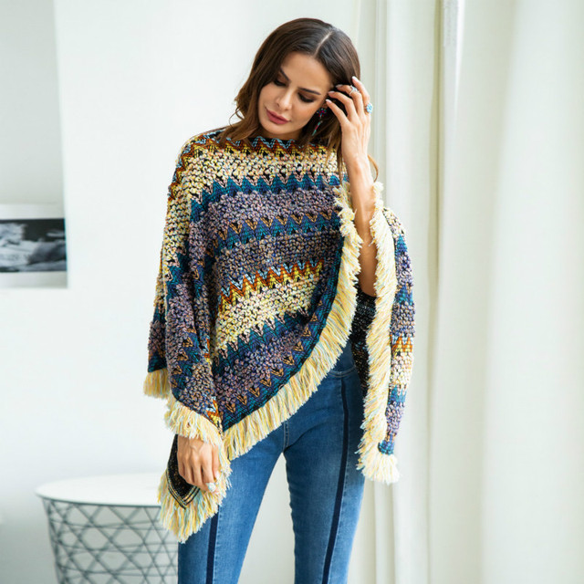 Winter loose pullover V-neck bat-style cloak large size rainbow Tassels sweater female pullover sweater women pull femme hiver 6