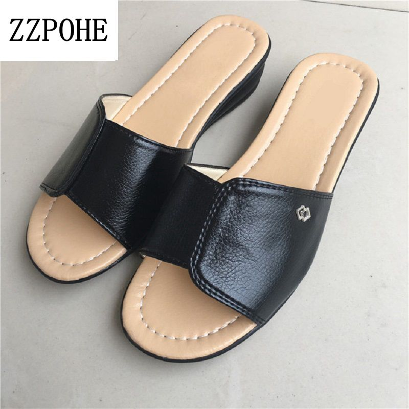 ZZPOHE Summer new mother large size soft bottom sandals slippers women flat leisure comfortable slippers ladies beach slippers zzpohe 2017 summer new woman slippers fashion women flat casual flip flops sandals ladies soft bottom comfortable beach shoes