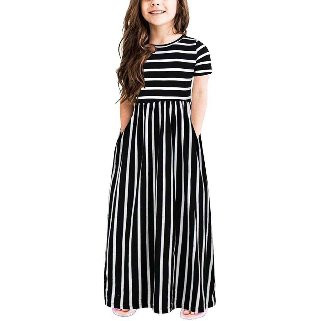 Girls Summer Striped Fashionable Dress Toddler Baby Girls Short Sleeve Striped Print Dress Kids Dresses Clothes