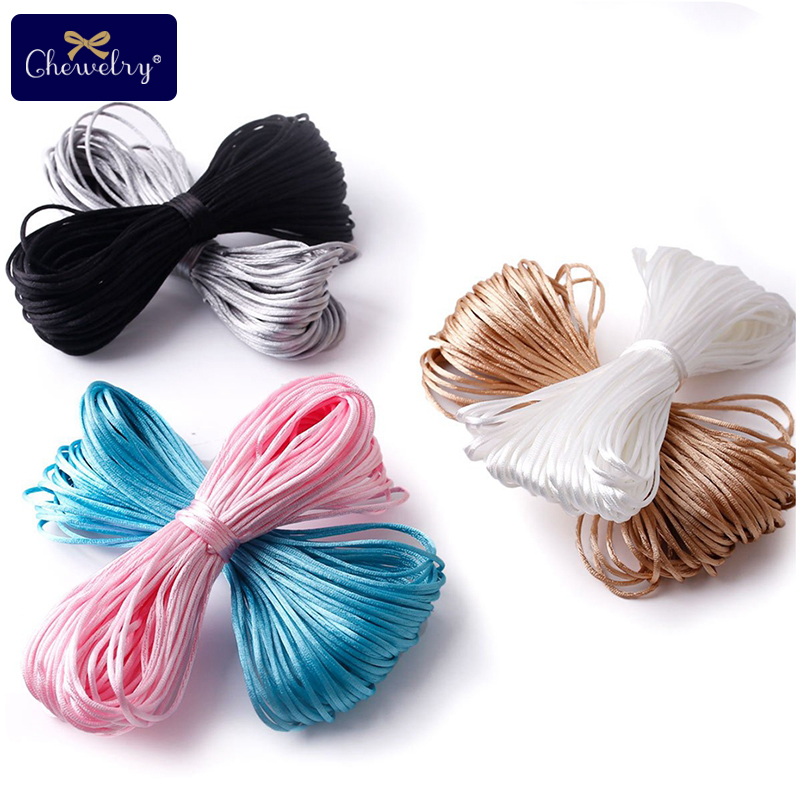 Nylon Rope 20M/Lot Satin DIY String Chinese Knot Macrame Cord Tassels Beading Shamballa String Thread Plastic Clips Nurse Gifts