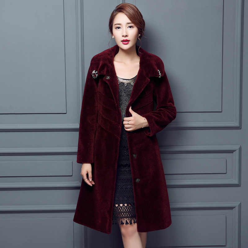 Superior quality Merino wool fur coats 2019 Winter cashmere wool lamb slim  season Mouton Coat female jacket women's wool jacket