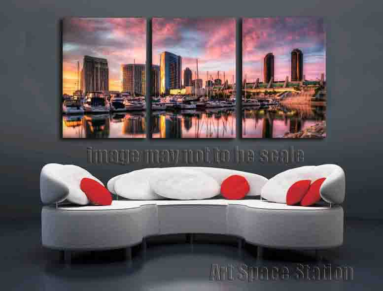 san diego harbor picture sunset landscape canvas prints 3 panel wall art home decor no framed large size 120x65cm