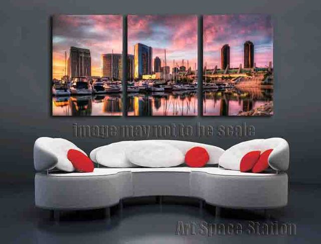 san diego home decor. San Diego Harbor Picture Sunset landscape canvas prints 3 panel wall art home  decor No Framed