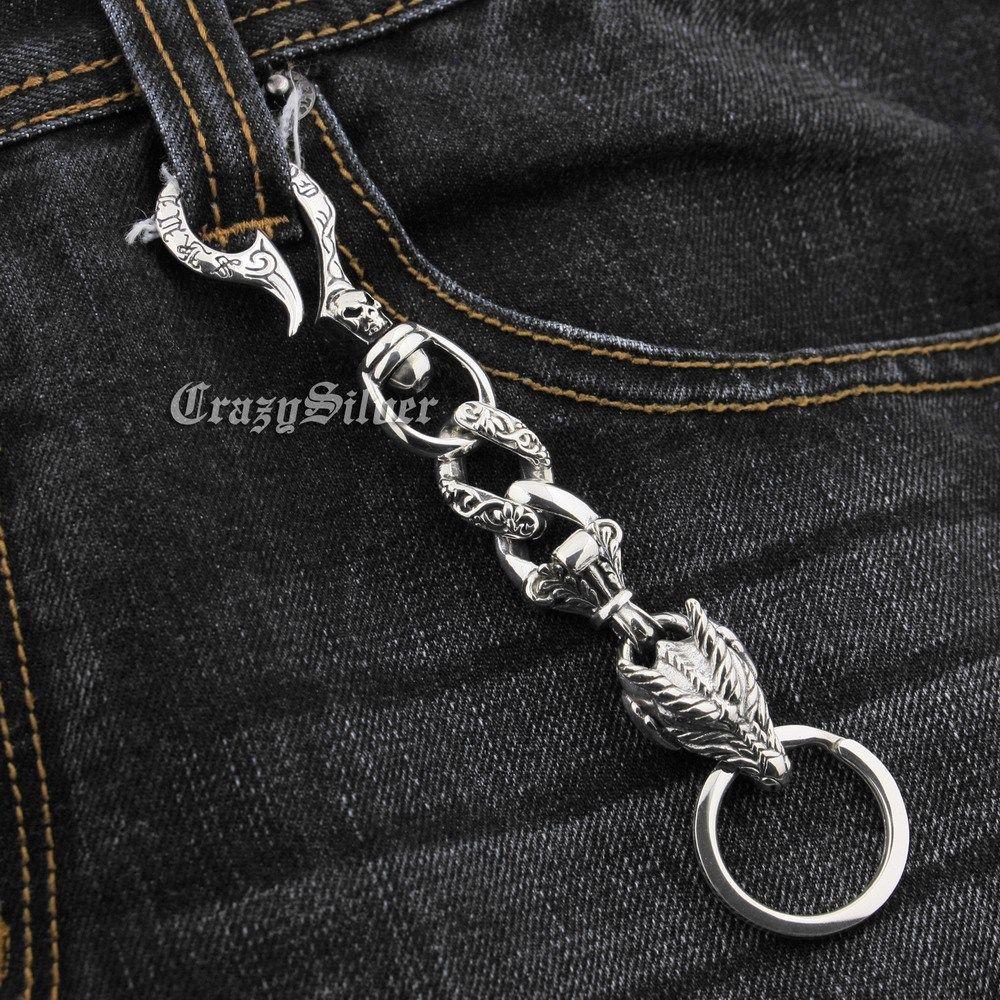 925 en argent Sterling crâne crochet Dragon hommes Biker Rocker porte-clés 8F013KC accessoire Punk