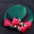Chapeaux Fete Adultes Elegant Green Wedding Hats For Ladies Red Bows Women Hats Vintage SQ018