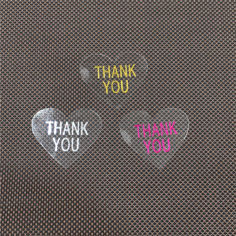 100Pcs Heart Shape Clear PVC Stickers With Colorful Hot Stamping For Stationery Decorations Sticker Labels Accept Custom Logo