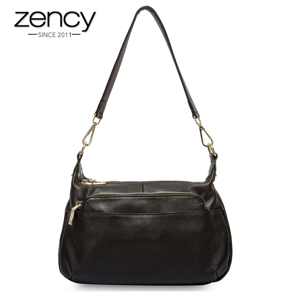 Zency 100% Genuine Leather Fashion Grey Women Shoulder Bag More Compartments Hobos Lady Crossbody Messenger Purse Tote Handbag marumi mc c pl 55mm