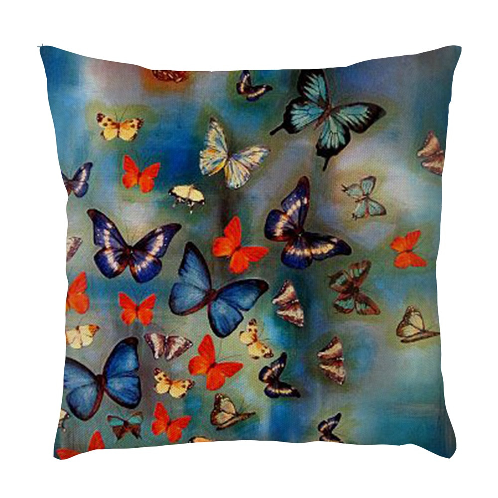 color butterfly pattern throw pillow case decorative pillows cover for sofa seat cushion cover. Black Bedroom Furniture Sets. Home Design Ideas